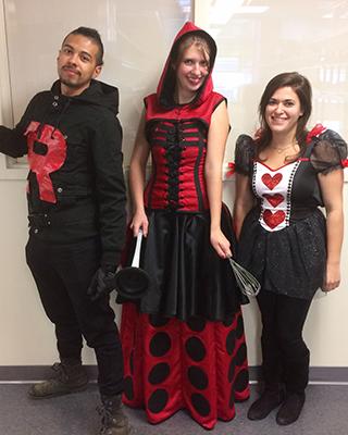Photo of Sebastian Echeverri, Melissa Plakke, and Lisa Limeri on Halloween 2016